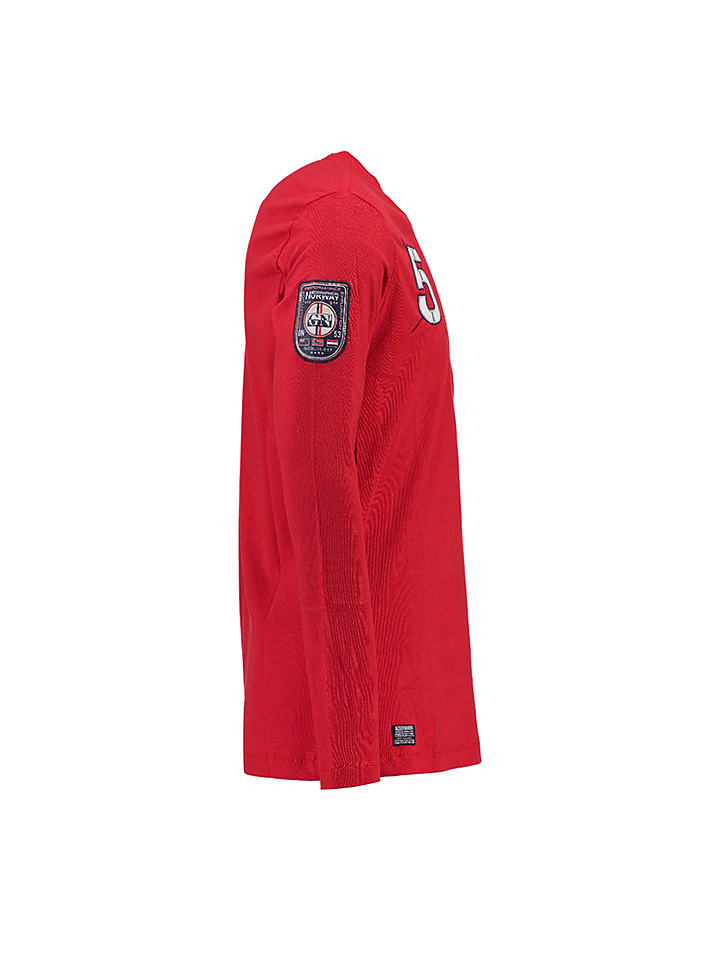 """Geographical Norway Longsleeve """"Jantibe"""" in Rot"""