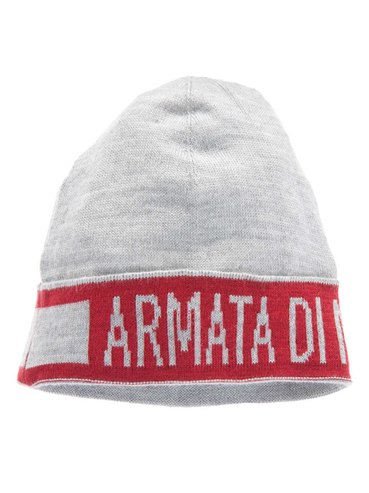 Armata di Mare Mütze mit Logo-Blockstreifen in Grau/ Rot