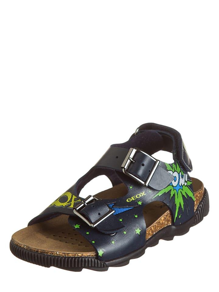 """Geox Sandały """"Storm"""" w kolorze czarnym ze wzorem"""