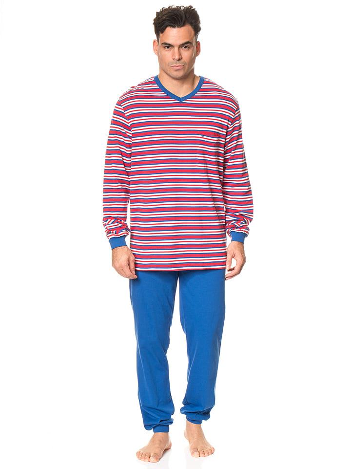 Seidensticker Pyjama in Blau/ Rot
