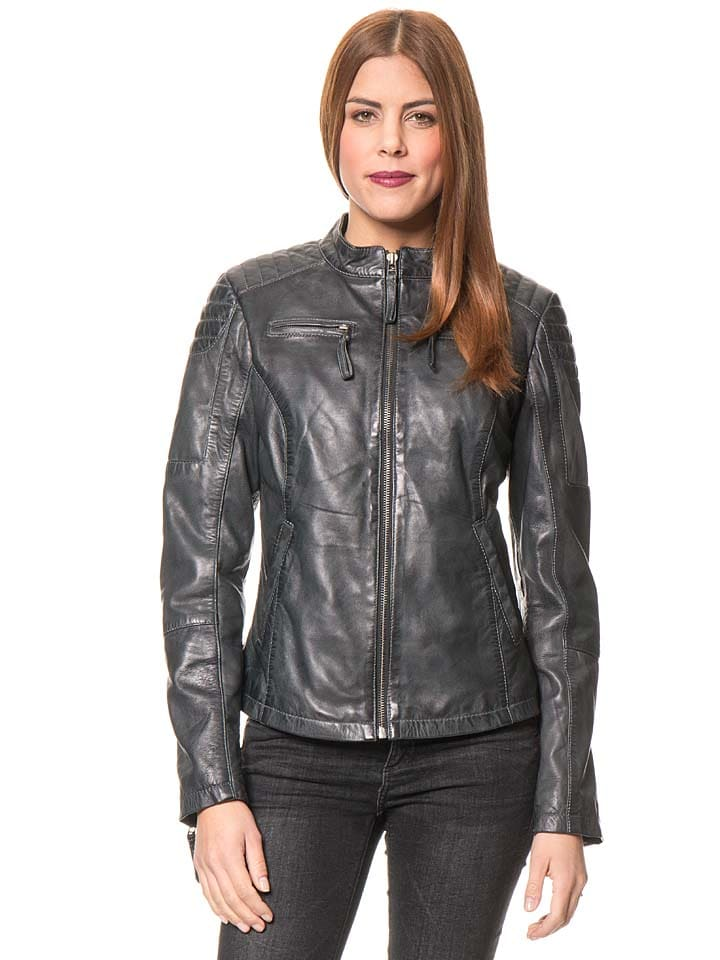 "Caminari Lederjacke ""Nickita"" in Anthrazit"