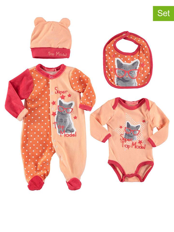 TOM & KIDDY 4-delige pasgeborenenset oranje/abrikooskleurig