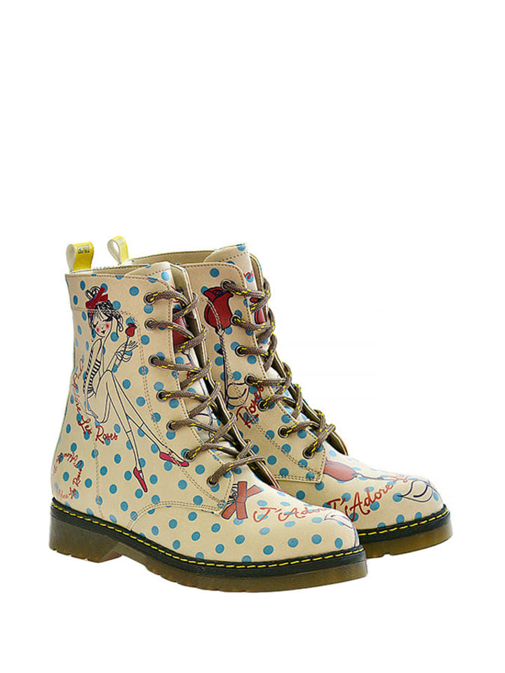 Goby Boots in Beige/ Hellblau/ Rot