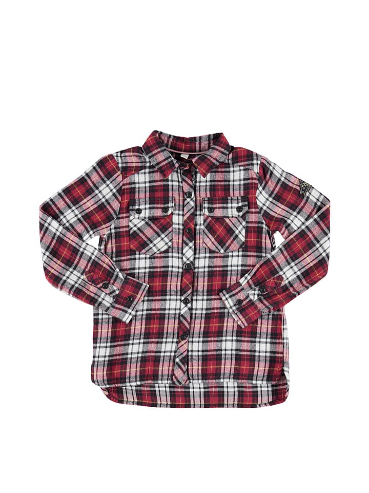 ESPRIT Koszula w kolorze czarno-ciemnoczerwono-białym