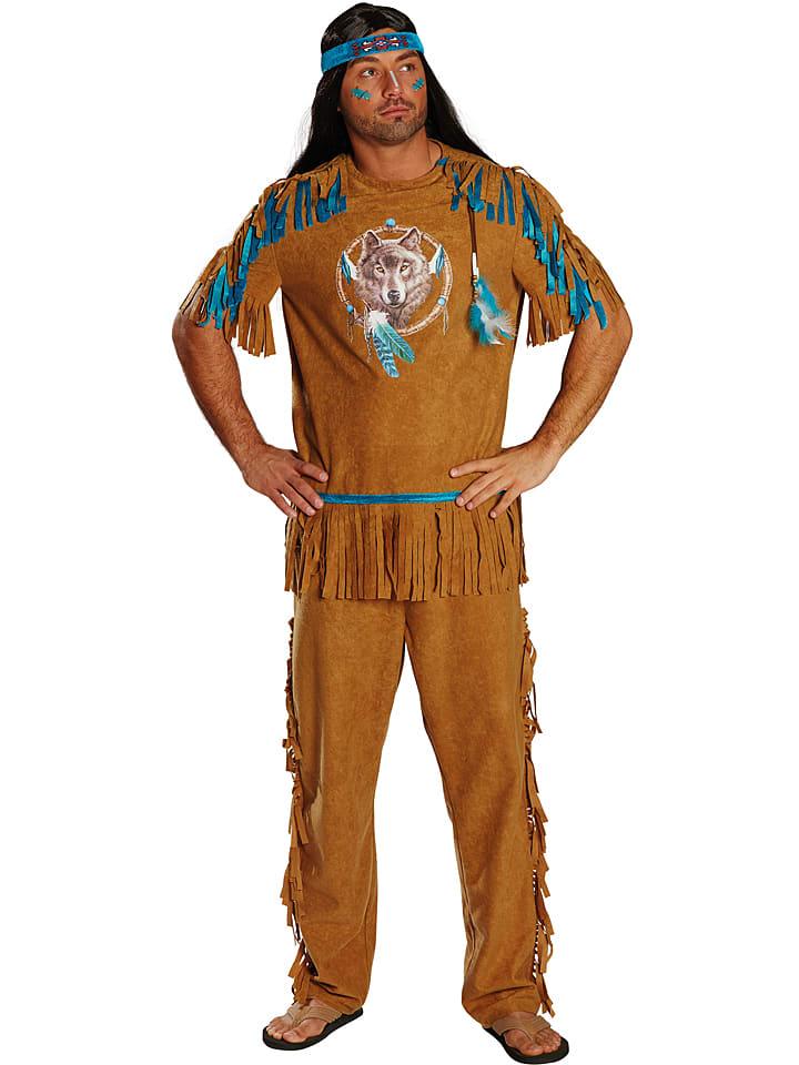 """MOTTOLAND 3tlg. Kostüm """"Indianer"""" in Hellbraun/ Blau"""