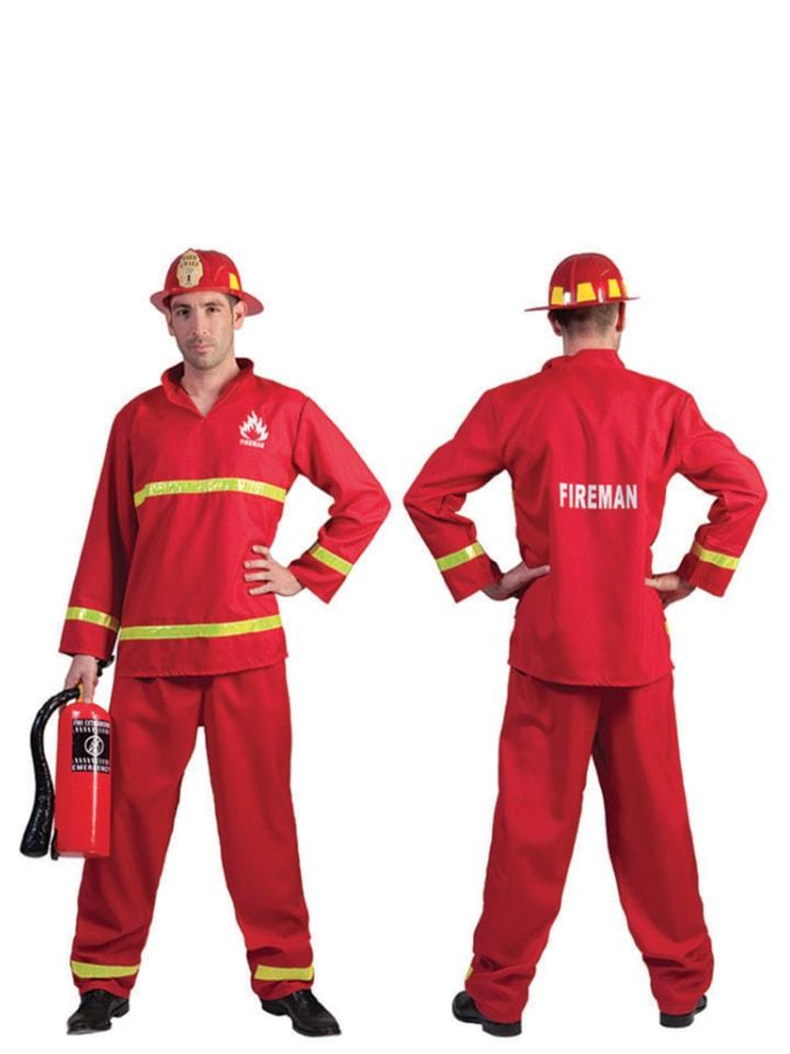 """Funny Fashion 2tlg. Kostüm """"Feuerwehrmann"""" in Rot"""