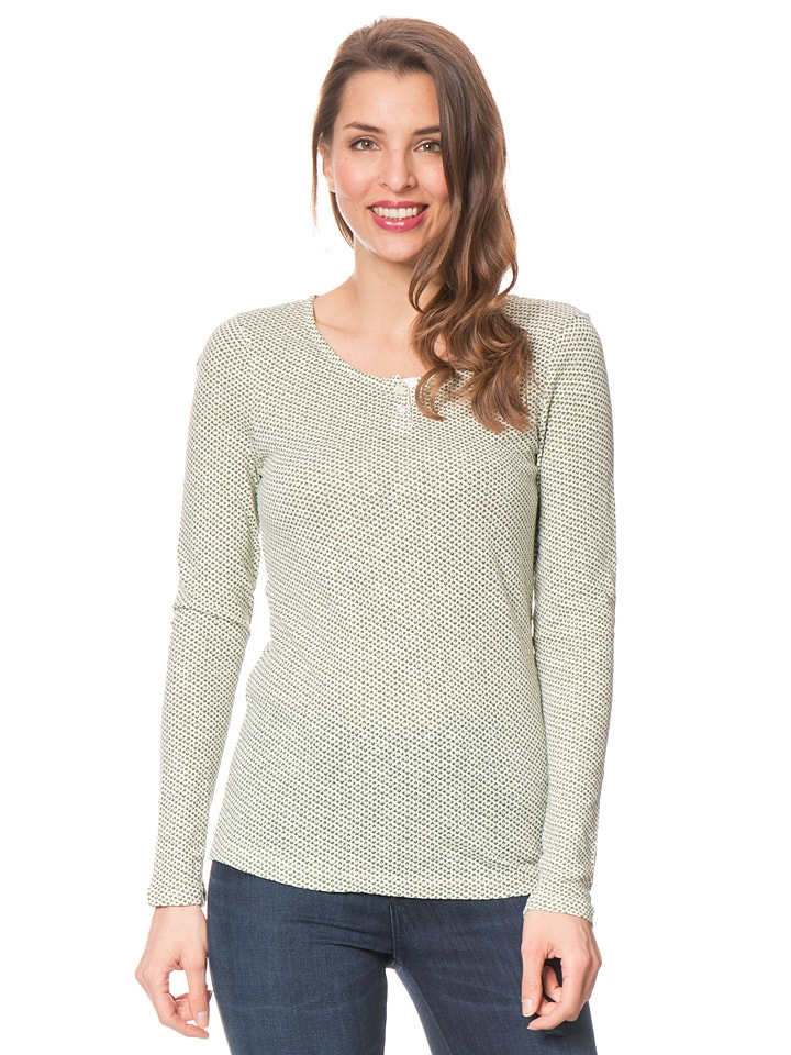 Marc O'Polo Shirt in Creme/ Grün