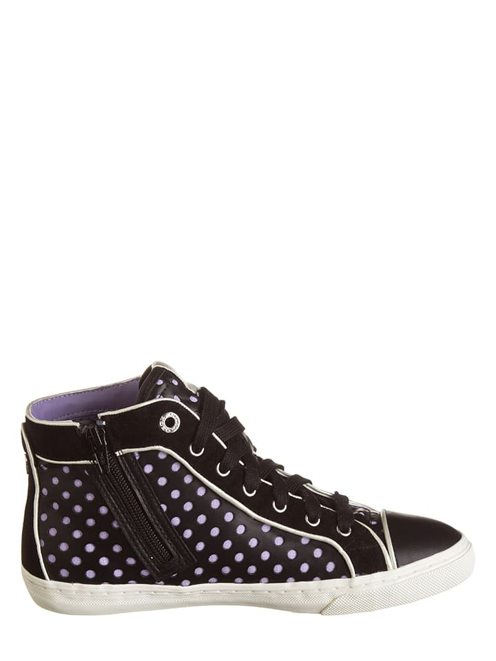 "Geox Leder-Sneakers ""New Club B"" in Schwarz/ Lila"