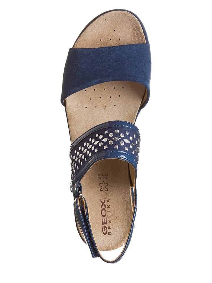 """Geox Leder-Sandaletten """"Jalia C"""" in Blau"""