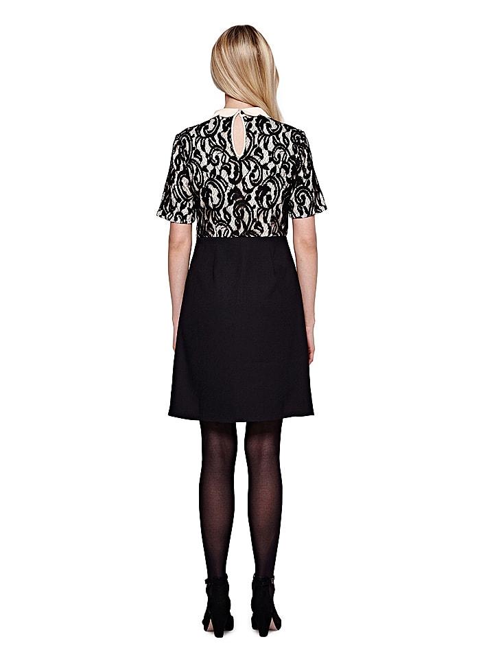 Yumi Kleid in Schwarz/ Beige