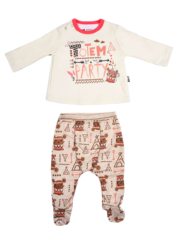 Petit Beguin 2tlg. Outfit in Creme/ Hellbraun
