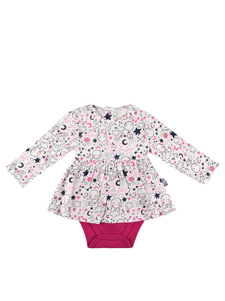 Petit Beguin Bodykleid in Weiß/ Pink