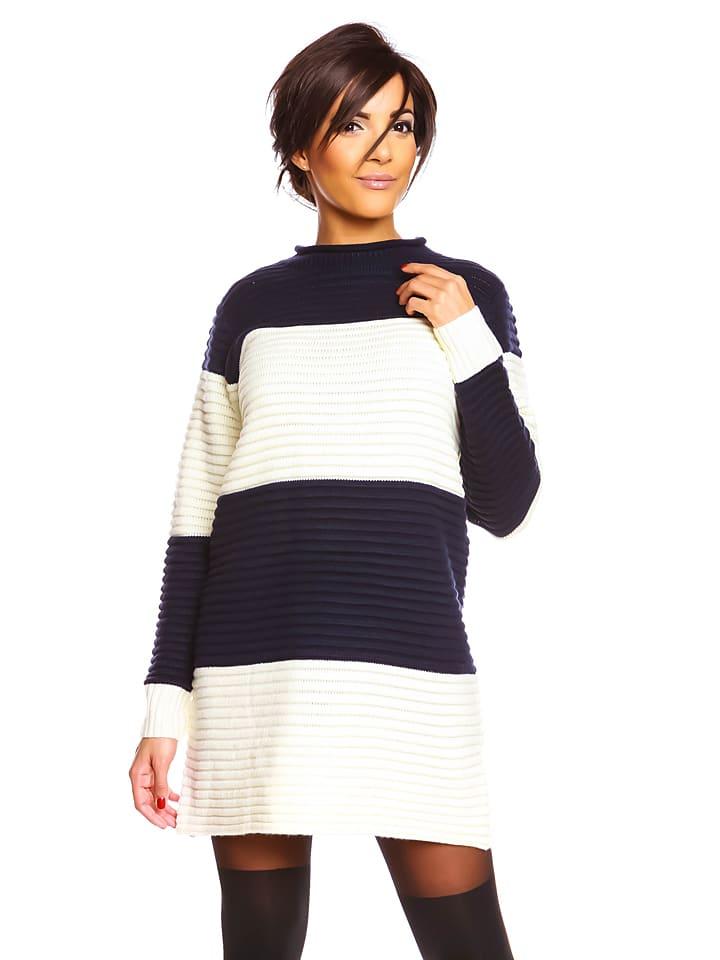"""So... Cachemire Paris Kleid """"Muriel"""" in Dunkelblau/ Weiß"""