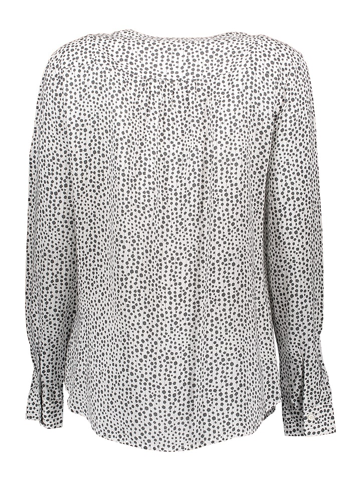 Marc O'Polo Bluse in Weiß/ Anthrazit