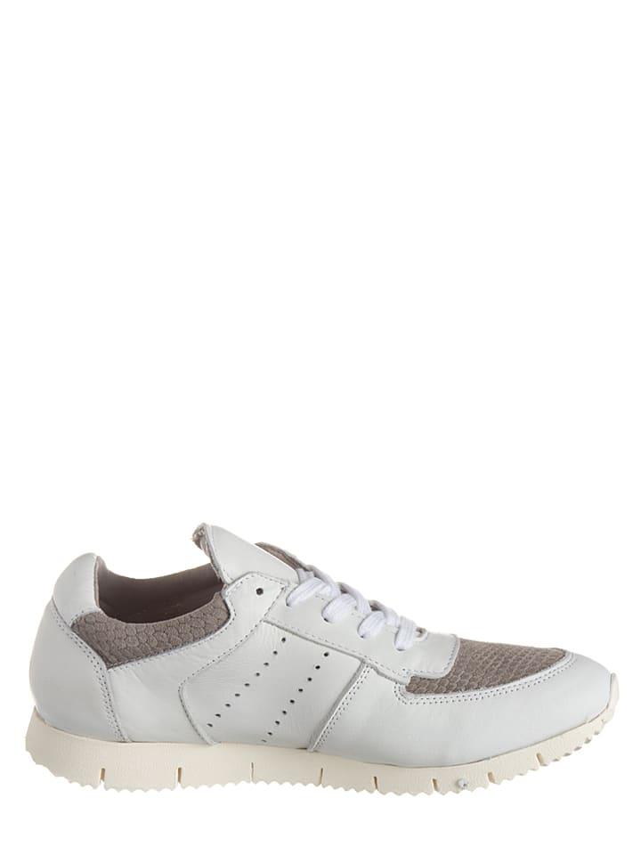 Otto Kern Leder-Sneakers in Weiß/ Grau