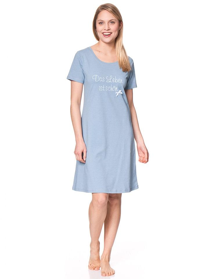 """Louis & Louisa Nachthemd """"Das Leben ist schön"""" in Hellblau"""