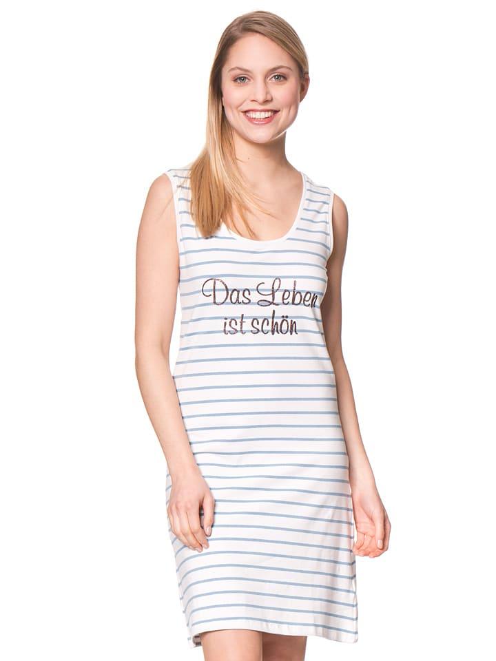 """Louis & Louisa Nachthemd """"Das Leben ist schön"""" in Weiß/ Hellblau"""