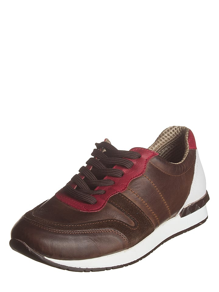 Andrea Conti Leder-Sneakers in Braun/ Rot
