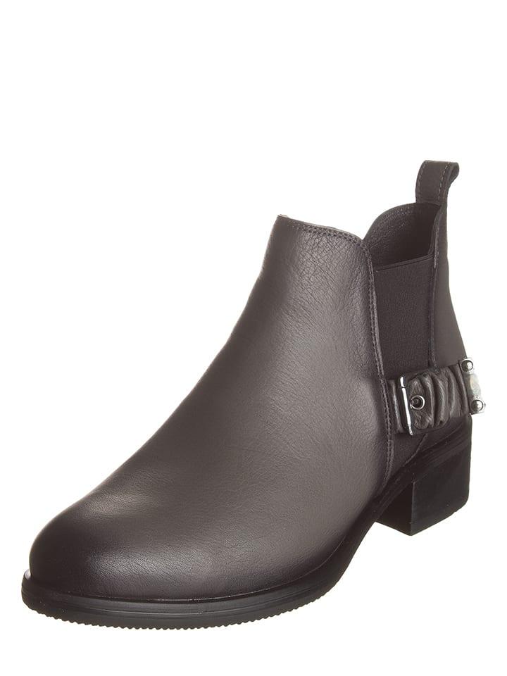 Andrea Conti Leder-Chelsea-Boots in Grau