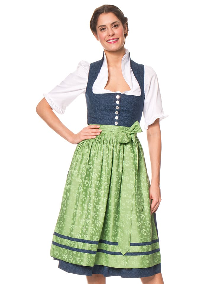 berwin und wolff midi dirndl in dunkelblau gr n. Black Bedroom Furniture Sets. Home Design Ideas