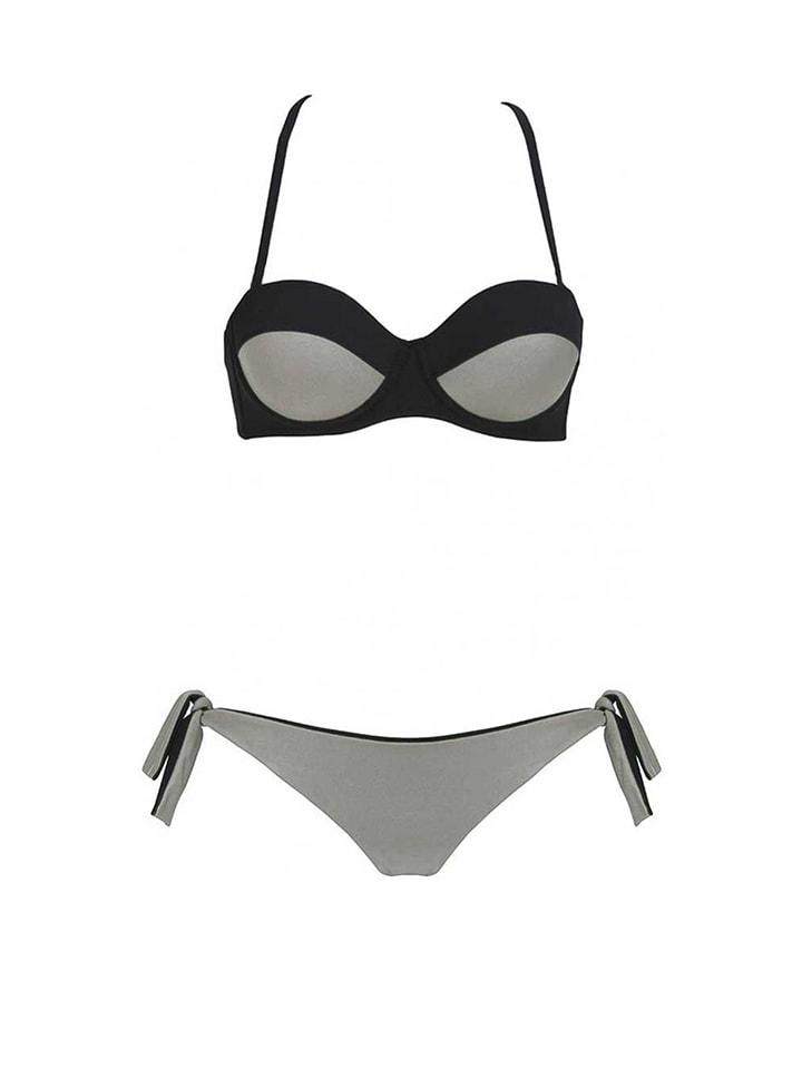 ROSE SALOME Bikini in Grau/ Schwarz