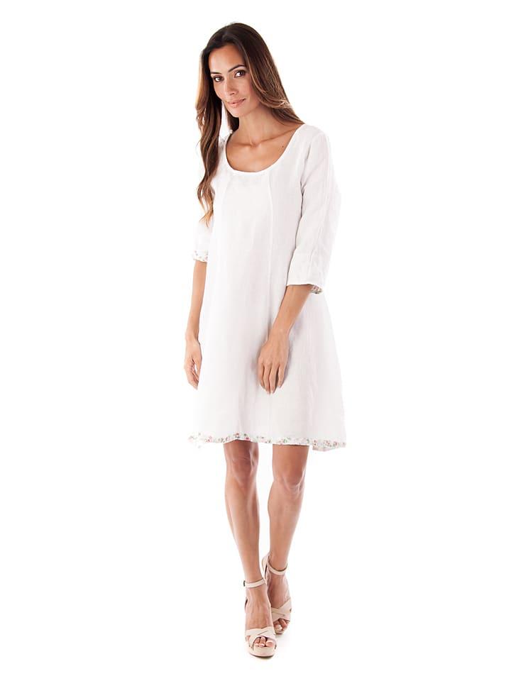 "Toutes en lin Leinen-Kleid ""Grenade"" in Weiß"