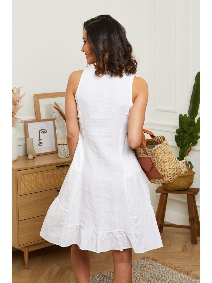 """Maison du Lin Leinen-Kleid """"Mykonos"""" in Weiß"""