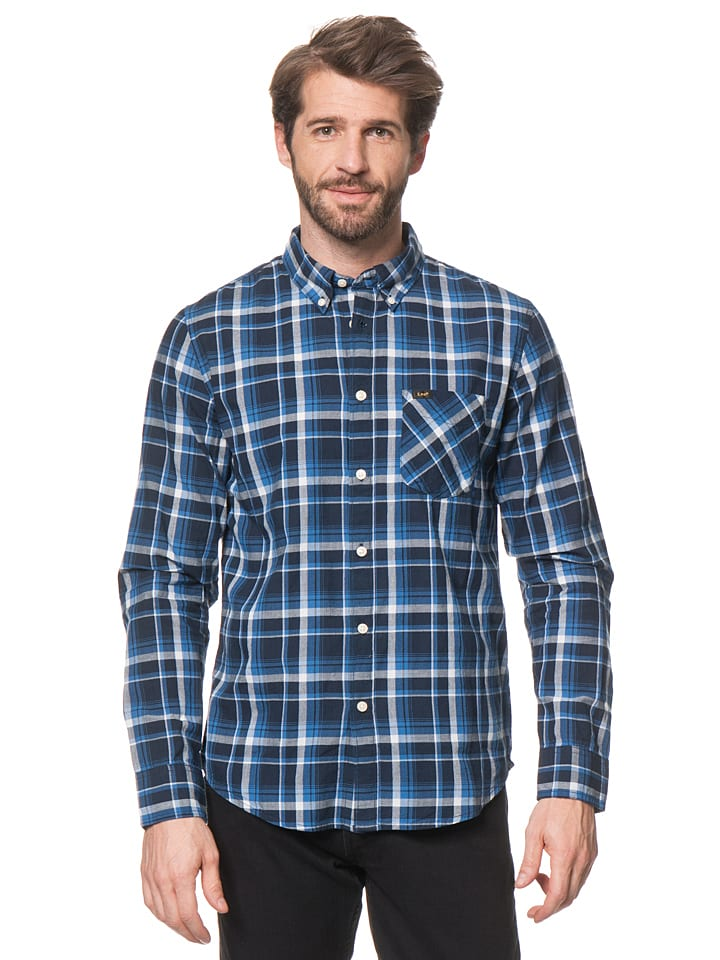 """Lee Jeans Hemd """"Button Down"""" in Blau/ Hellgrau"""