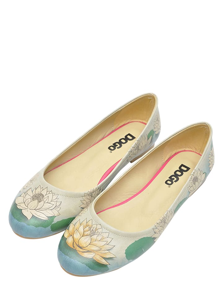 "Dogo Ballerinas ""Lotus"" in Creme/ Blau"