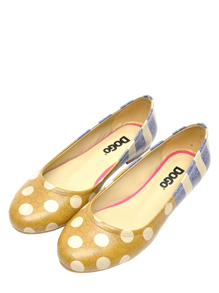 "Dogo Ballerinas ""Stripes And Dots"" in Senf/ Blau"