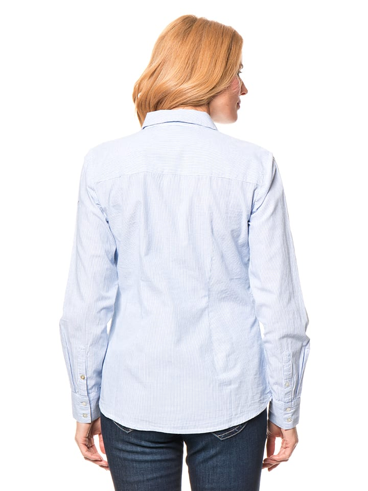 Tom Tailor Bluse in Blau/ Weiß