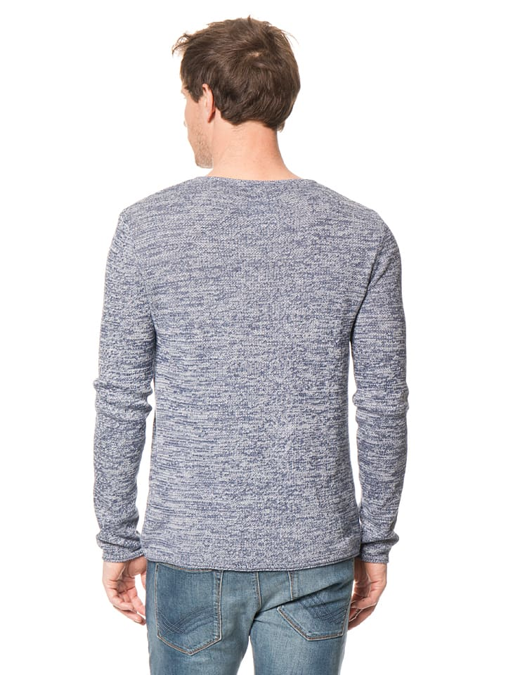 Tom Tailor Pullover in Dunkelblau/ Weiß