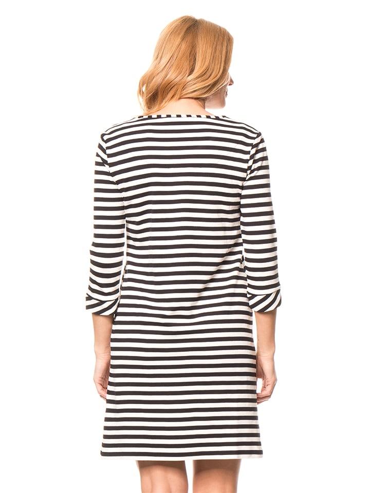 Tom Tailor Kleid in Dunkelblau/ Weiß