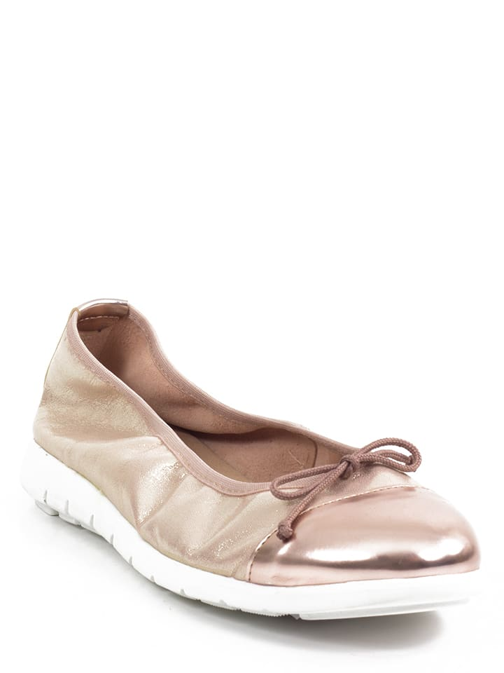Abril Flowers Leder-Ballerinas in Bronze