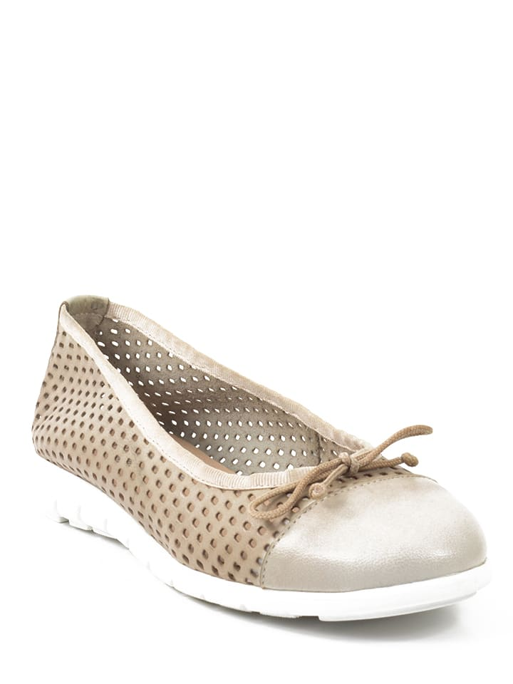 Abril Flowers Leder-Ballerinas in Gold