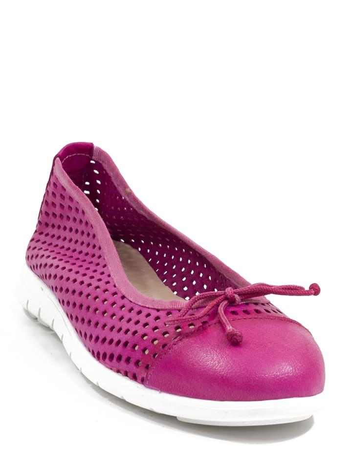 Abril Flowers Leder-Ballerinas in Pink