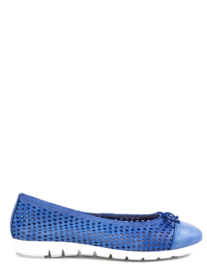 Abril Flowers Leder-Ballerinas in Blau