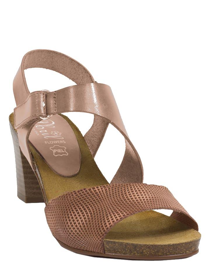 Abril Flowers Leder-Sandaletten in Rosa/ Bronze