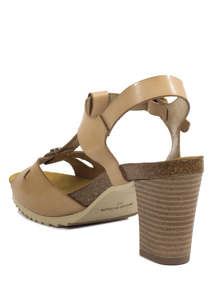 Abril Flowers Leder-Sandaletten in Beige