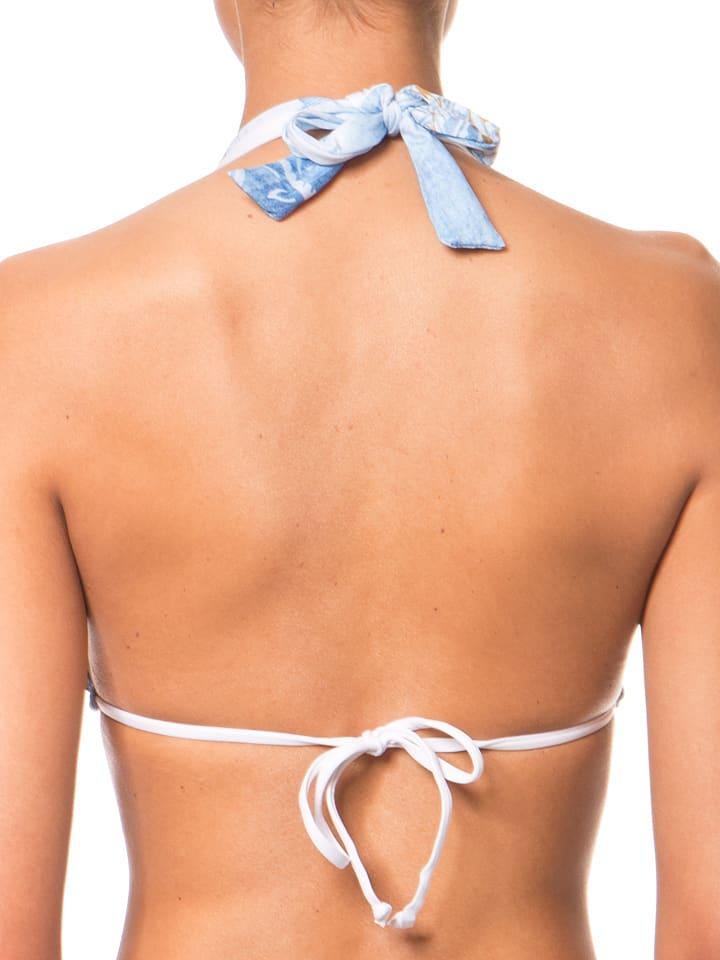 Desigual Sport Wende-Bikini-Top in Hellblau/ Weiß