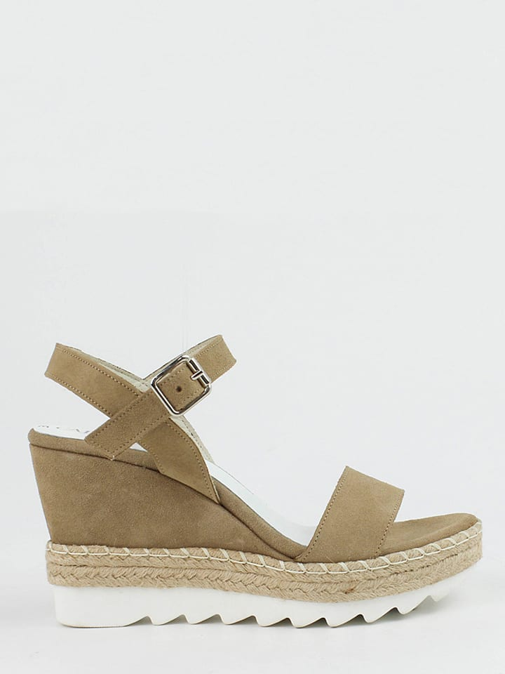 CARMELA Leder-Sandaletten in Taupe