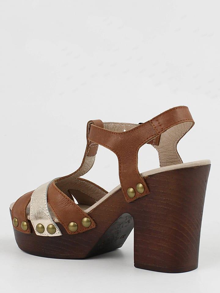 CARMELA Leder-Sandaletten in Braun/ Silber