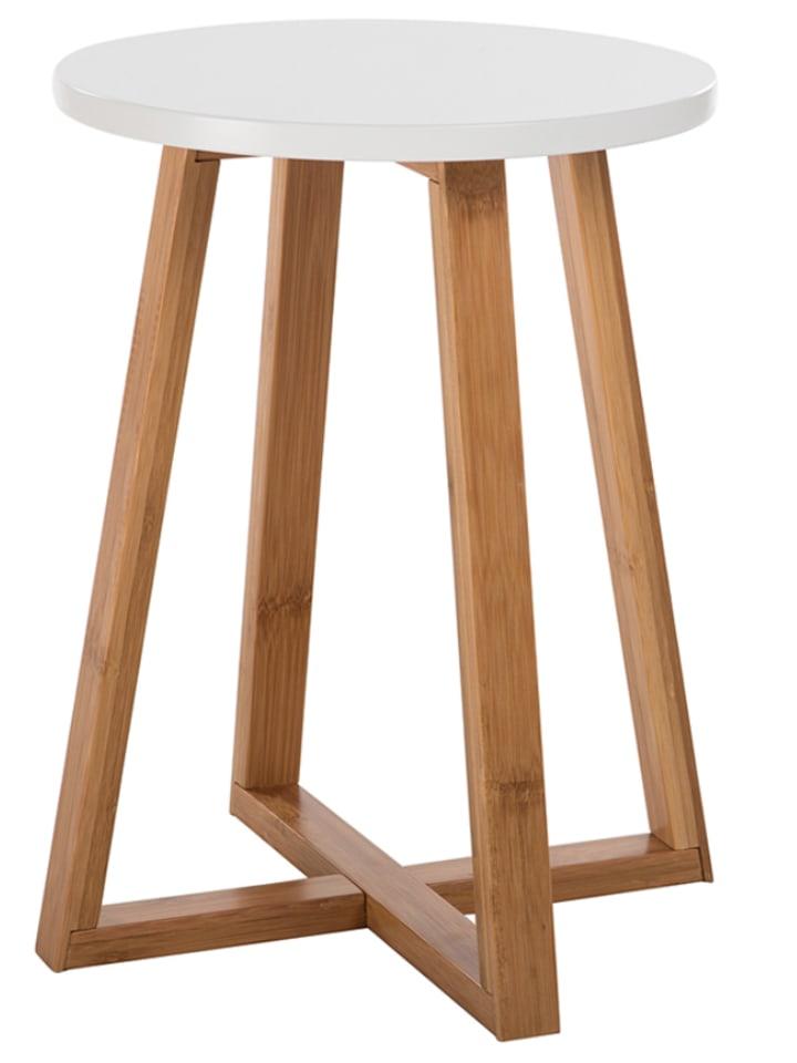 DesignLab Beistelltisch in Weiß/ Natur - (H)46,5 x Ø 30 cm