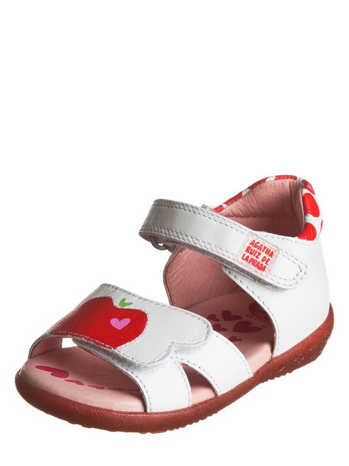 Agatha Ruiz de la Prada Skórzane sandały w kolorze biało-czerwonym