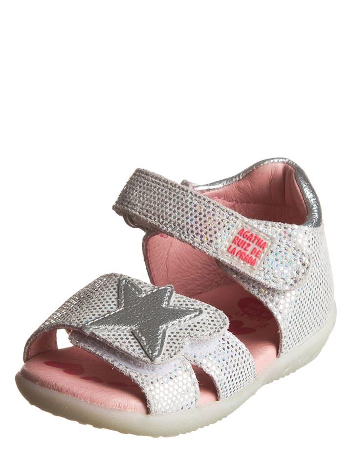 Agatha Ruiz de la Prada Skórzane sandały w kolorze srebrnym