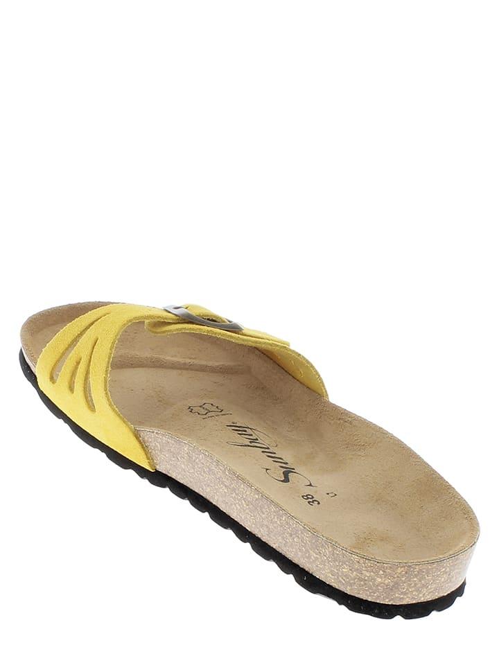 Sunbay Leder-Pantoletten in Gelb