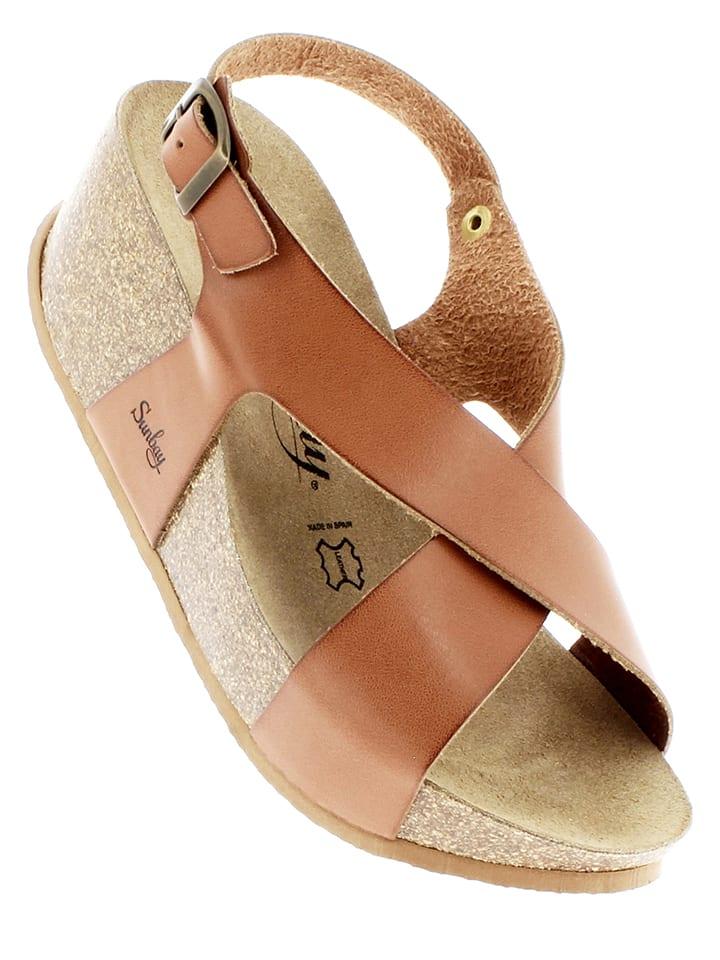 Sunbay Leder-Sandaletten in Camel