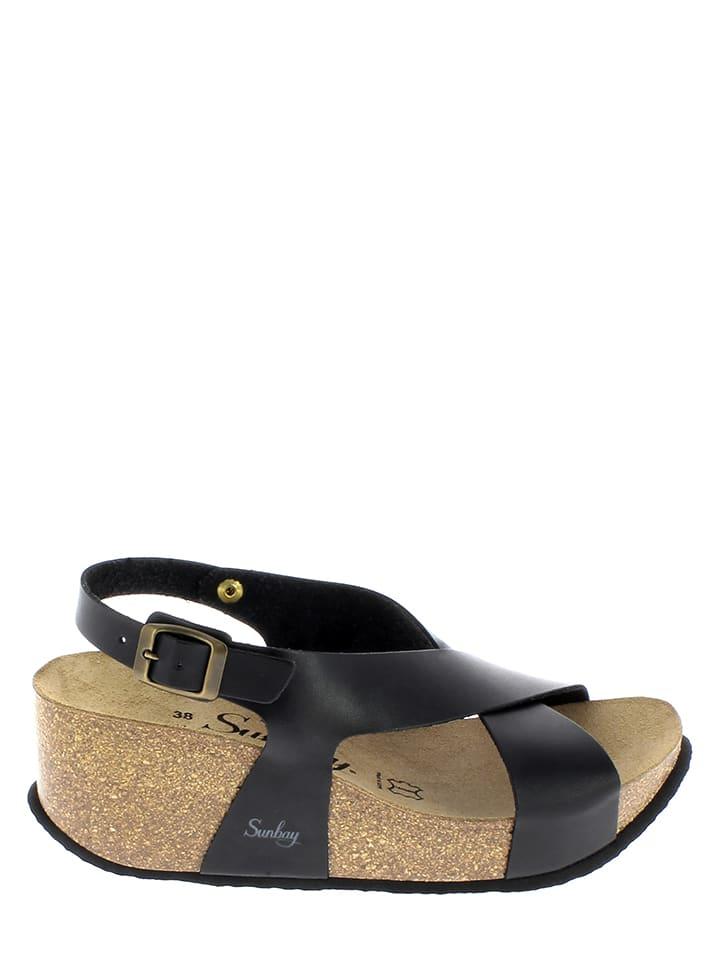 Sunbay Leder-Sandaletten in Schwarz