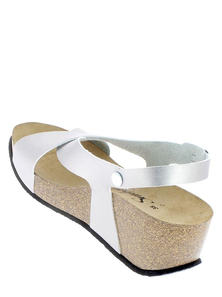 Sunbay Leder-Sandaletten in Silber