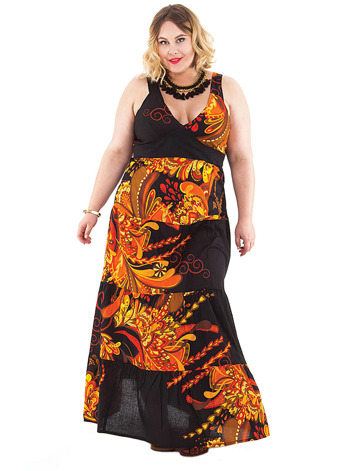 Aller Simplement Kleid in Schwarz/ Orange